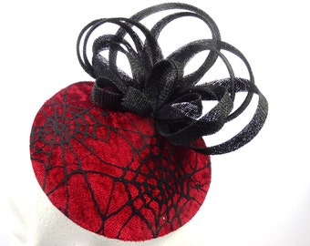 Red and black Gothic hatinator, spiderweb headpiece, black and red fascinator