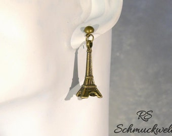Earrings, bronze-colored, Eiffel Tower, love, romantic, Oktoberfest, Dirndl, Gothic, Victorian