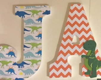 custom wood letters in Dinosaur theme, boys wall letters for James, chevron orange and green decorative letters, baby nursery letters