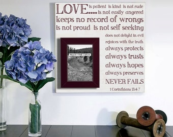 1 Corinthians 13:4-7, Gifts for the Bride, Gifts for the Groom, Gifts for the Couple, Subway Art, Farmhouse Frame, Subway Sign, 16 x 16