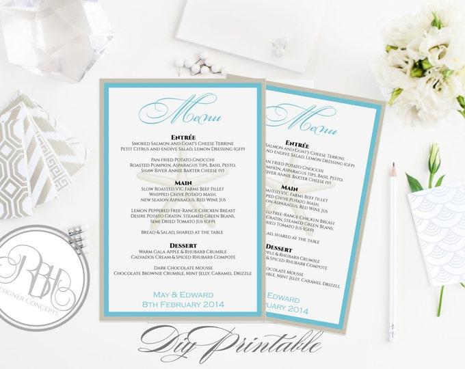 "Beachside Wedding Menu Template - INSTANT DOWNLOAD- Elegant Turquoise & White Beachside Starfish Design - ""Natahlia in Turquoise White"""