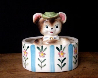 Bear Planter, Vintage, Hand Painted, Free Hand Flowers, Ceramic, Superb Details, Circa 1950, Baby or Nursery Decor, Collection, Gift