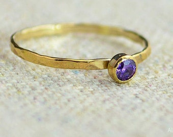 Dainty Gold Filled Amethyst Ring, Hammered Gold, Stacking Rings, Mothers Ring, February Birthstone, Amethyst Ring, Rustic Amethyst Ring