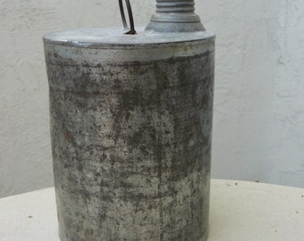 Vintage Tin Can - Kerosene or Fuel Can with Lid and Handle