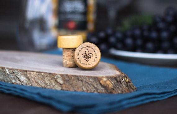 Personalized Bottle Stopper Fleur De Lis- Engraved Wine Stopper - Wedding Favor - Wedding Gift - Wedding Reception - Favor Wine Gift