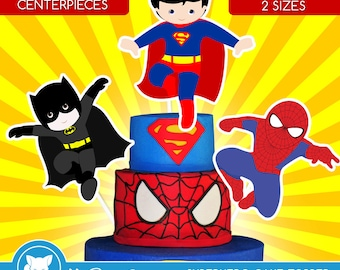 Superhero Centerpiece | PDF 2 Sizes | superhero cake toppers | Superhero Table Centerpiece | Superhero Cake Topper | Instant Download