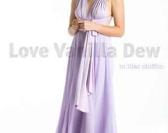 Bridesmaid Dress Infinity Dress Lilac with Chiffon Overlay Floor Length Maxi Wrap Convertible Dress Wedding Dress