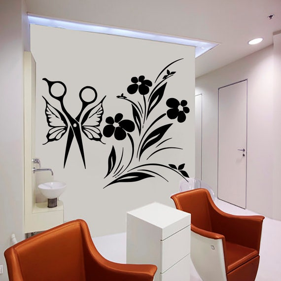 Wall decal beauty salon girl woman haircut by cozydecal on for Stickers salon
