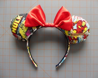 Marvel Superhero Comic Book Print Mouse Ears Headband