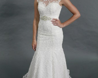 Sweet trumpet floor length, beading belt, sweet heart lace boat neckline wedding dress