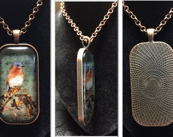 Wearable Art Jewelry by Dragonfly Blessings, Bluebird pendant, unique woman's fine art necklace