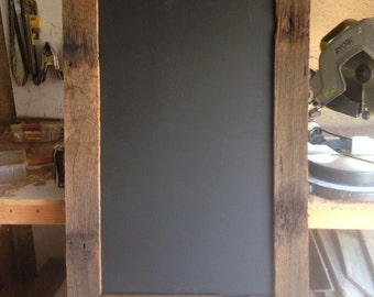 Rustic blackboard - wedding menu or welcome message. Recycled hardwood