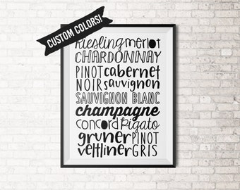 Wine Typography Kitchen Print Art - Choose your own colors!