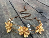 Floral boho headpiece crown in Light Brown // Flower headband halo crown for a hippie chic party, festival, or wedding hair crown