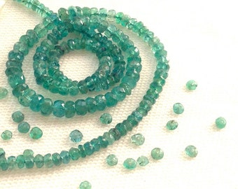 Natural Colombian Emerald Faceted Rondelles 3.5-4mm