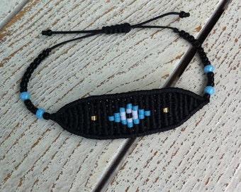 New evil eye macrame bracelet in black color for keeping the evil away!