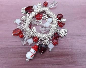 Christmas bracelet, cluster charm bracelet, stretch bracelet, xmas bracelet