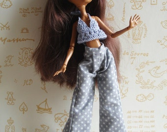 "Outfit ""Shadow"" purple gray cotton trousers with little stars and top to match crocheted for Monster High Doll"