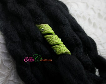 Apple green dread coil beads/Dread Beads/polymer clay dread bead/Dreads Bead