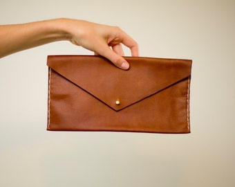 Leather Purse, Large Envelope Clutch