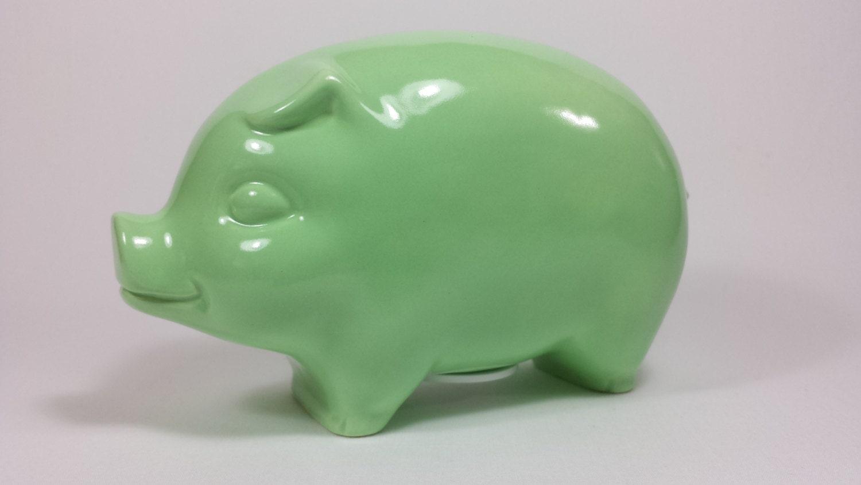 Ceramic piggy bank mint green gloss glaze handmade for Handmade coin bank
