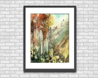 Watercolor Painting Art Print, Forest Painting, Nature Wall Art