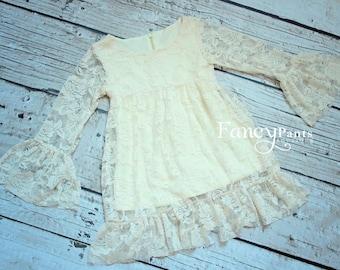 Ivory Lace Dress- Long sleeve Ivory Dress,  Lace flower girl dresses- baby lace dress - Long sleeve lace dress- lace dress, Toddler Dress