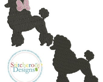 Poodle Filled Design- With and without applique bow -Sizes 4x4, 3x3, 2x2 and 1x1- Instant Download - for Embroidery Machines