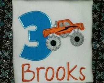 Personalized Monster Truck Boys Birthday Shirt