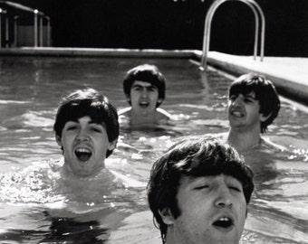 The Beatles Poster, Swimming, John Lennon, Ringo Starr, George Harrison, Paul McCartney, Rock Legends