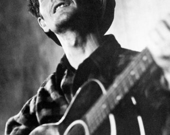 Woody Guthrie Poster, Playing Guitar, Singer, Songwriter, Ballads, Folk Songs and Protest Music