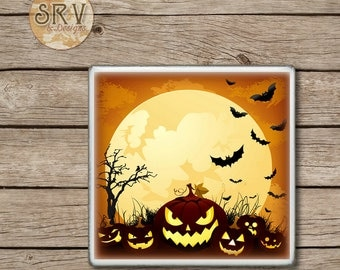ON SALE Spooky Pumpkins Drink Coaster(s), Halloween Handmade Design, Ceramic Tiles, Beer Coaster, Party Favor, Full Moon and Bats, Made To O