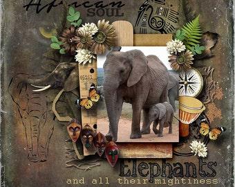 African Digital Scrapbook Kit : AFRICA UNLEASHED - elephants, wild animals, tiger, lion,travel , vacation  African embellishments