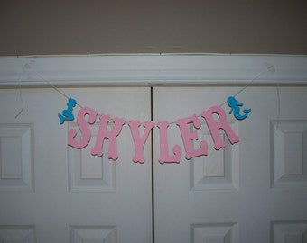 PERSONALIZED Letter Banner - Light Pink and Turquoise Blue Mermaid Letter Garland - Mermaid Birthday Party - Baby Shower - Banner