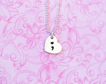 Hand Stamped Inspirational Semicolon Project Necklace - Semicolon Pendant - My Story Isn't Over Yet ;  - Semicolon Project