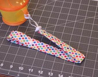 Bottle Strap with Elastic and Toggle End, Polka Dot Multi-Color, Snap End Closure to attach, Sippy Cup Leash, Bottle Leash, Sippy Cup Strap