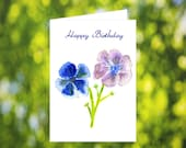 Anemone Birthday Card Download: Watercolor Anemone Flower Birthday Card - Blue - Purple - Digital Download - Downloadable Card - For Her Mom