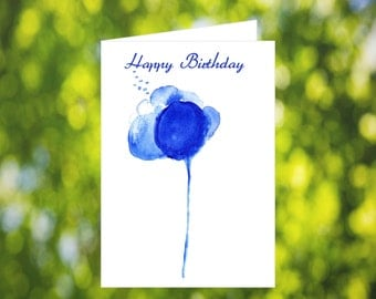 Blue Flower Birthday Card Download: Watercolor Blue Flower Birthday Card - Digital Download - Downloadable Card - Birthday Card for Her Mom