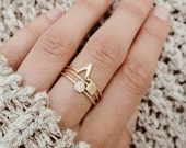 Delicate gold stacking rings, dainty ring, stacking ring, set of 3 rings