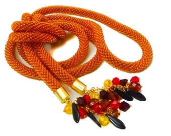 Ginger lariat. Extra long orange necklace. Seed bead crochet rope. Original boho jewelry. Free shipping.
