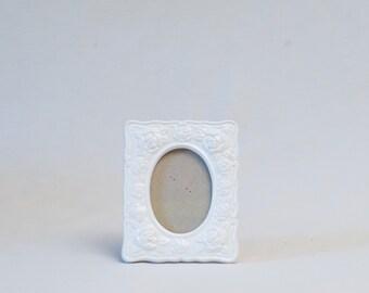 1970s Photo Frame - White Rose Enamel/Ceramic