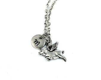 Pig with wings, Flying pig, Pig necklace, Pig Charm, pendant necklace, Personalized necklace, Charm necklace, Initial charm