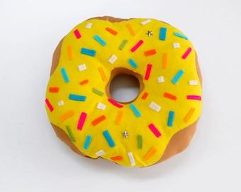 Yellow Donut Pillow Plush - Handmade cushion