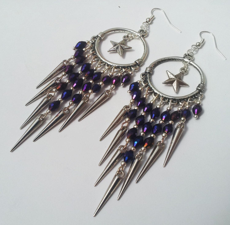 Star Chandelier Earrings Purple Earrings Statement