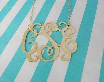 1 inch Monogram Necklace Gold,3 Initials Monogram Necklace,Initial Necklace Charm,Nameplate Necklace Gold,Bridesmaids Gift