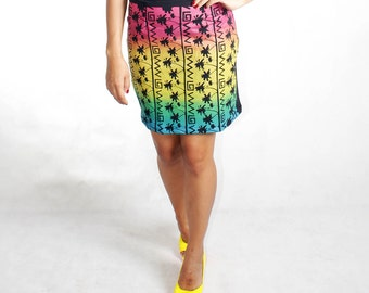 SALE Gradient  Rainbow bodycon Mini Skirt, Free shipping wordwide