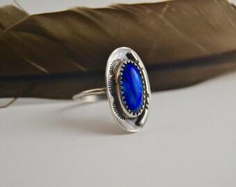 Blue paua shell ring