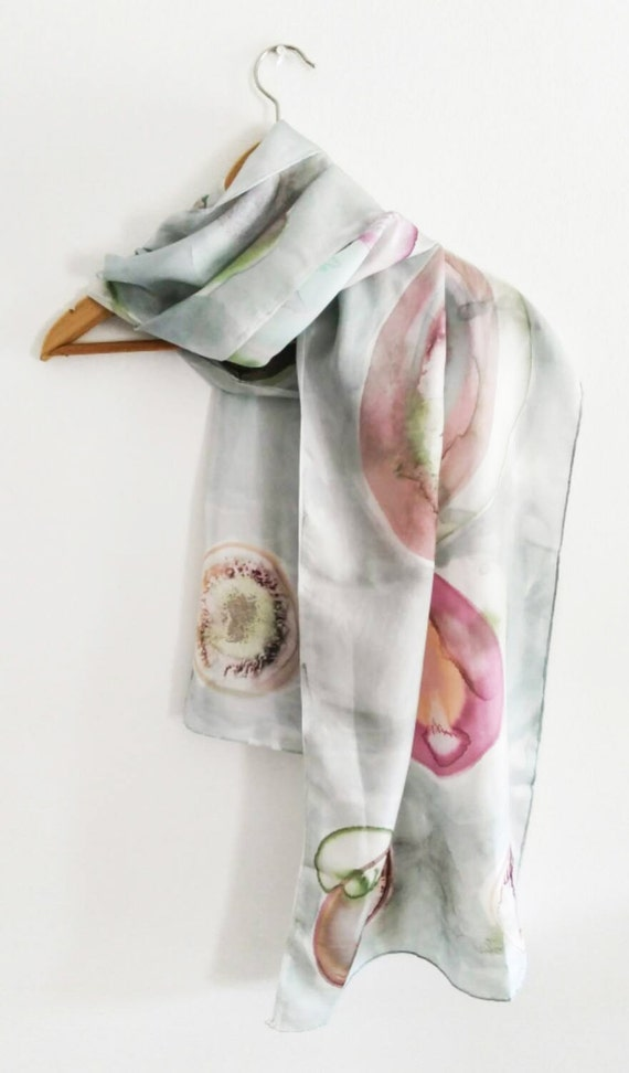 Hand painted silk scarf unique designgray by