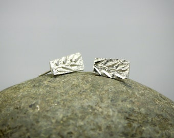 Stud Earrings, Leaf Stud Earrings, Post earrings, Solid Sterling Silver, Hammered earrings, Silver Stud Earrings, 925 stamped
