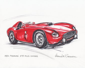Classic Car Print 1954 Ferrari 375 Red Car Drawing Racing Car Art Gift for Men Automobile Wall Art Vintage Car Print Custom Car Illustration